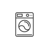 Linea icona, segno di vettore del profilo, pittogramma lineare della lavatrice isolato su bianco Immagini Stock