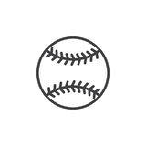 Linea icona, segno di vettore del profilo, pittogramma lineare della palla di baseball di stile isolato su bianco illustrazione di stock