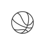 Linea icona, segno di vettore del profilo, pittogramma lineare della palla di pallacanestro di stile isolato su bianco Fotografie Stock Libere da Diritti
