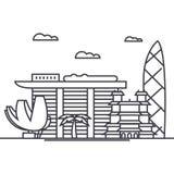 Linea icona, segno, illustrazione di vettore di Singapore su fondo, colpi editabili royalty illustrazione gratis