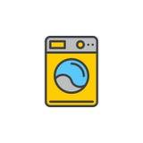 Linea icona, segno riempito di vettore del profilo, pittogramma variopinto lineare della lavatrice isolato su bianco Fotografie Stock