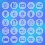 Linea icone degli aggeggi e dei dispositivi di web del cerchio messe Fotografie Stock Libere da Diritti