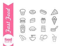 Linea icone degli alimenti a rapida preparazione Fotografia Stock Libera da Diritti