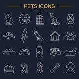 Linea icone degli animali domestici messe illustrazione di stock