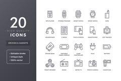 Linea icone degli apparecchi elettronici Fotografia Stock