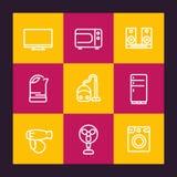 Linea icone degli apparecchi messe illustrazione di stock