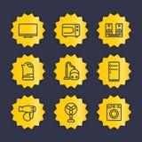 Linea icone degli apparecchi messe Fotografie Stock