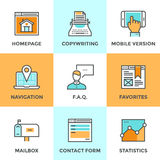 Linea icone degli elementi del sito Web messe Immagine Stock