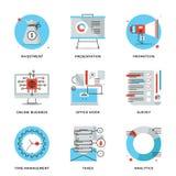Linea icone degli elementi della gestione aziendale messe illustrazione vettoriale