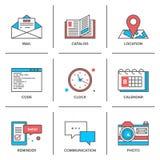 Linea icone degli oggetti dell'ufficio messe Fotografie Stock Libere da Diritti