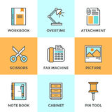 Linea icone degli oggetti dell'ufficio messe Immagine Stock