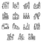 Linea icone degli oggetti di industriale messe Immagini Stock Libere da Diritti