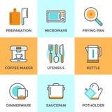 Linea icone degli utensili da cucina messe Fotografie Stock Libere da Diritti
