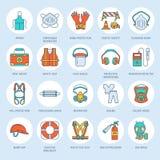 Linea icone dei dispositivi di protezione individuale La maschera antigas, la boa di anello, il respiratore, il cappuccio dell'ur illustrazione vettoriale