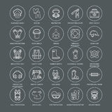 Linea icone dei dispositivi di protezione individuale La maschera antigas, la boa di anello, il respiratore, il cappuccio dell'ur Fotografia Stock Libera da Diritti