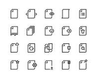 Linea icone dei documenti Lotto trattato del lavoro di azione dell'aggiornamento di tempo di ricerca di dati dell'annotazione del illustrazione vettoriale