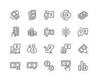 Linea icone dei soldi illustrazione di stock