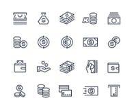 Linea icone dei soldi Scambio commerciale del mercato monetario di pagamento di affari Portafoglio della carta di contanti, simbo illustrazione di stock