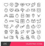 Linea icone del biglietto di S. Valentino Immagini Stock