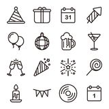 Linea icone del buon anno messe Fotografia Stock Libera da Diritti