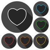 Linea icone del cuore messe con ombra lunga Fotografia Stock Libera da Diritti