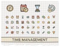 Linea icone del disegno della mano della gestione di tempo royalty illustrazione gratis