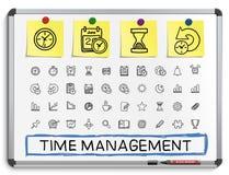 Linea icone del disegno della mano della gestione di tempo illustrazione di stock
