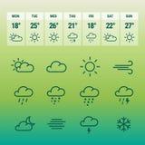 Linea icone del forcast del tempo su verde Fotografia Stock