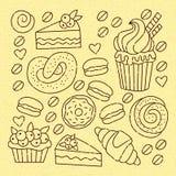 Linea icone del forno di scarabocchio messe Fotografie Stock Libere da Diritti