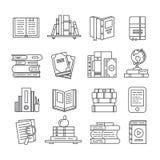 Linea icone del libro di arte Riviste, diario di studio e bibbia letterari Apra l'icona sottile del manuale, del libro elettronic illustrazione di stock