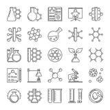 Linea icone del microscopio, della boccetta, della molecola e di chimica di vettore illustrazione di stock
