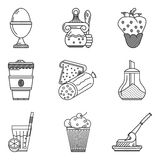 Linea icone del nero del menu della prima colazione Fotografie Stock