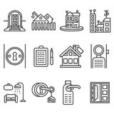 Linea icone del nero di affitto della Camera Immagini Stock Libere da Diritti