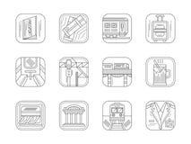 Linea icone del piano di servizio e della stazione ferroviaria Fotografia Stock