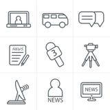 Linea icone del reporter di notizie di stile delle icone Immagini Stock