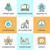 Linea icone del settore produzione energia messe illustrazione di stock