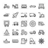 Linea icone del trasporto messe illustrazione vettoriale