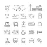 Linea icone dell'aeroporto ed insieme di simboli Immagini Stock Libere da Diritti