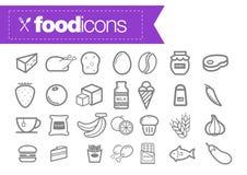 Linea icone dell'alimento Fotografia Stock