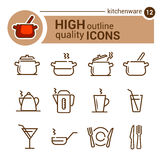 Linea icone dell'articolo da cucina Immagini Stock Libere da Diritti