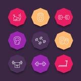 Linea icone dell'attrezzatura della palestra sulle forme ottagonali di colore Fotografie Stock