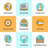 Linea icone dell'attrezzatura per l'edilizia messe illustrazione vettoriale