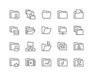 Linea icone della cartella Immagini Stock