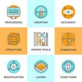 Linea icone della creazione di progettazione messe royalty illustrazione gratis