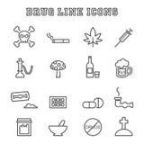 Linea icone della droga Immagini Stock