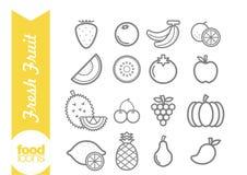 Linea icone della frutta Fotografia Stock Libera da Diritti