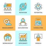 Linea icone della gestione aziendale messe Immagine Stock Libera da Diritti