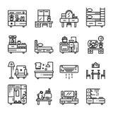 Linea icone della mobilia messe immagini stock