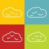 Linea icone della nuvola sul fondo di colore illustrazione vettoriale