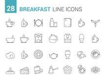 Linea icone della prima colazione Immagine Stock Libera da Diritti